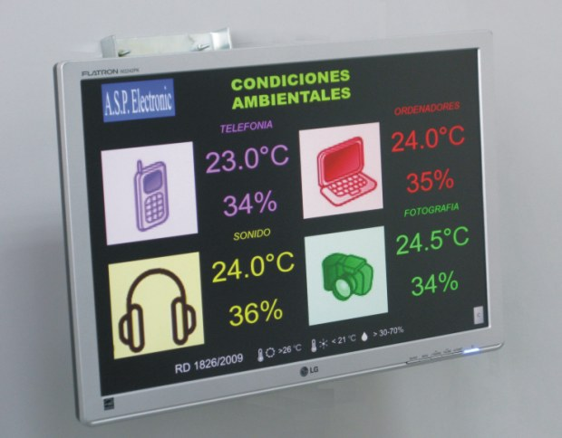 Large display digital indicator for analogue data visualization. Temperature and humidity large indicator TFT/LCD/LED.